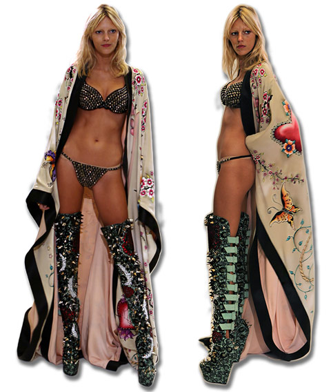 Anja Rubik in Jeff Fender hand-painted kimono at Victoria's Secret NYC fashion show